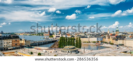 STOCKHOLM, SWEDEN - JULY 29, 2014: Scenic Summer Aerial Panorama Of Old Town In Stockholm, Sweden - stock photo