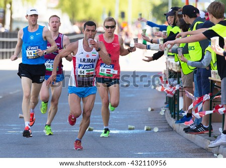 STOCKHOLM SWEDEN  June 4, 2016. Hassan Shirghavi from Iran in a group of runners.