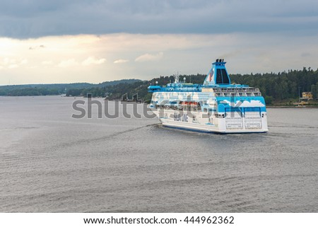 STOCKHOLM, SWEDEN - JUNE 19, 2016: Passenger ship Galaxy from the company Silja Line in the swedish archipelago. - stock photo