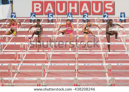 STOCKHOLM, SWEDEN - JUNE 16, 2016: Susanna Kallur comback after injury at the IAAF Diamond League in Stockholm at 100 meter hurdle. Lane 4 - stock photo