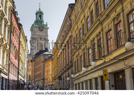 STOCKHOLM, SWEDEN - MAY 21, 2016:Church of St. Nicholas is the oldest church in Gamla Stan, the old town in central Stockholm, Sweden