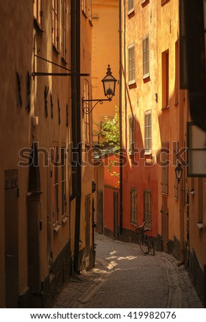 STOCKHOLM, SWEDEN - MAY 13, 2016: Cobblestones at the old town of Stockholm.Great for ancient look in warm light.