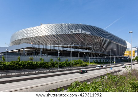 Stockholm, Sweden - May 30, 2016 : External view of Tele2 Arena, is a retractable roof multi-purpose stadium, in the Globe City, Stockholm, Sweden.