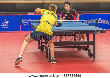 STOCKHOLM, SWEDEN - NOV 17, 2016: Truls Moregardh (SWE) vs Ting Liao (TPE) at the table tennis tournament SOC at the arena Eriksdalshallen in Stockholm.