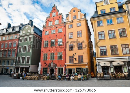 STOCKHOLM, SWEDEN - OCTOBER 3, 2015: Houses on Stortorget square in Gamla stan
