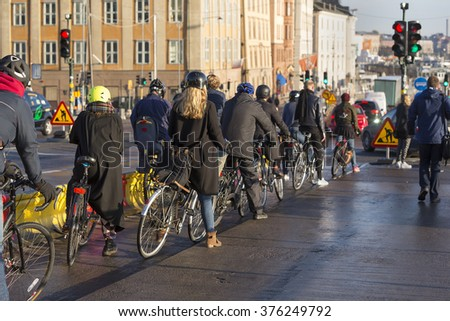 Stockholm, Sweden - October 5, 2015- Long line with bicyclists.