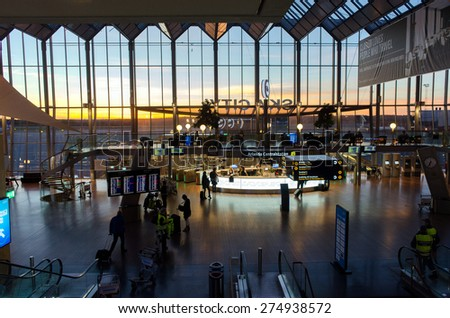 STOCKHOLM, SWEDEN  OCTOBER 2: Sky city at Arlanda Airport during sunset on October 2, 2013 outside Stockholm. Sky city connects Stockholms international airport with its railway station.  - stock photo