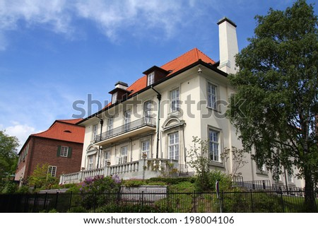 Stockholm, Sweden. Old villa dating from 1913, currently a Bristish embassy. Diplomatstaden district.