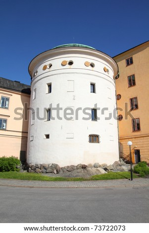 Stockholm, Sweden. Old white tower on Riddarholmen island.