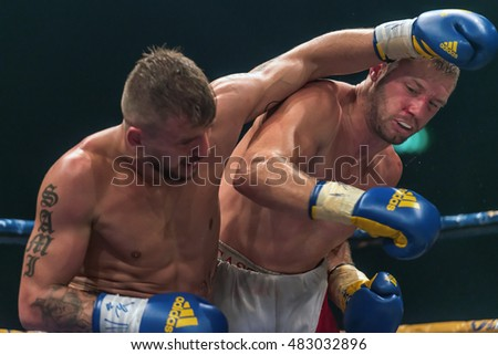 STOCKHOLM, SWEDEN - SEPT 10, 2016: Match between Naim Terbunja (SWE) vs Baptiste Castenegro (FRA) in super middleweight at The winner takes it all event in boxing. Winner Terbunja