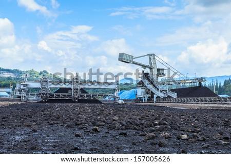 Stockpile of Coal at Mae Mo THAILAND - stock photo