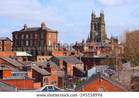 Stockport in North West England (UK). Part of Greater Manchester. Townscape with church. - stock photo