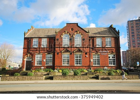 STOCKPORT, UK - FEBRUARY, 10 2016: Coroners Court. Stockport is a large town in Greater Manchester and was also at the centre of the country's hatting industry in the 19th century