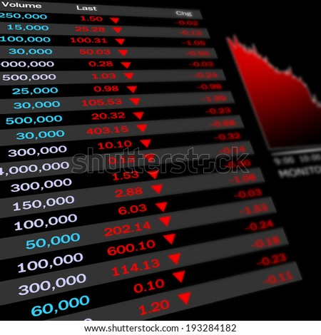 Stocks fall because the economy is bad. - stock photo