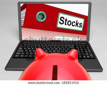 Stocks Laptop Meaning Trading And Investment On Web