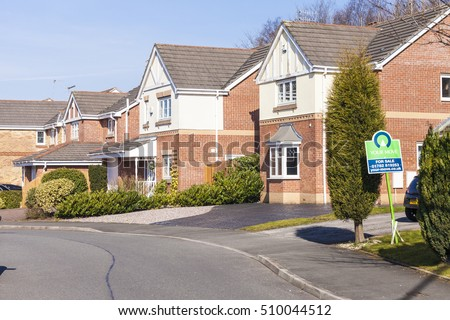 Stoke On Trent, United Kingdom - March 9, 2013 : Typical suburban new built English homes for sale Stoke On Trent, United Kingdom, Staffordshire, England.