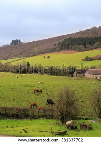 STOKESAY, ENGLAND - FEBRUARY 21: Farmland in Stokesay - viewed from South Tower at Stokesay Castle. In Stokesay, Ludlow, England. On 21st February 2016.