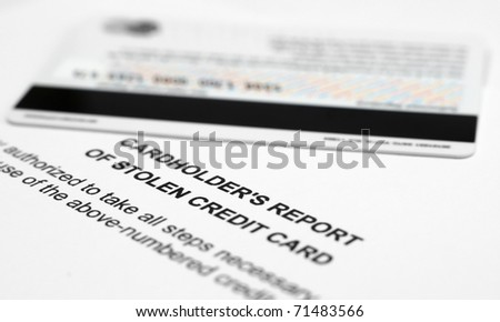 Stolen credit card report - stock photo