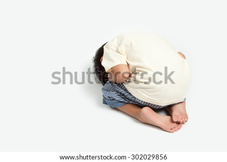 stomachache child . - stock photo