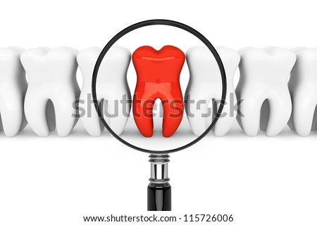 Stomatology concept. Tooth With Magnifying glass on a white background - stock photo