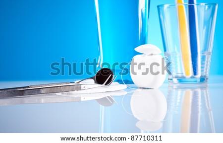 stomatology equipment and dental care - stock photo