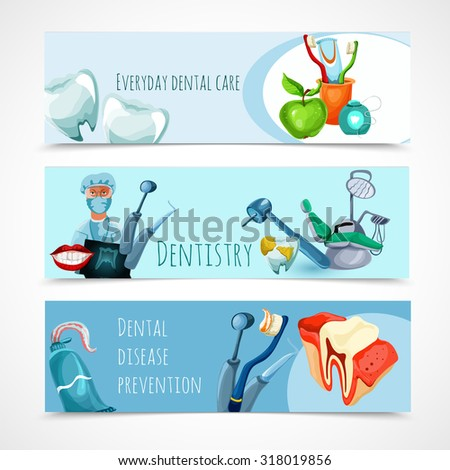 Stomatology horizontal banner set with everyday dental care dentistry dental disease prevention elements isolated  illustration - stock photo