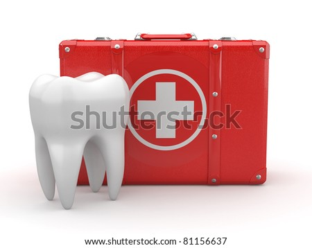 Stomatology. Tooth and Medical Kit on white isolated background. 3d - stock photo
