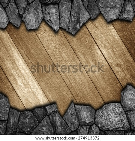 stone and wooden wall for background texture - stock photo