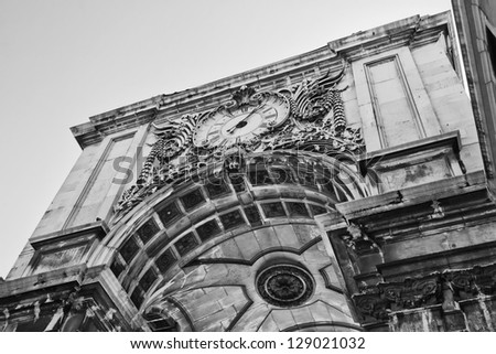 Stone arch at commerce square, Lisbon - stock photo