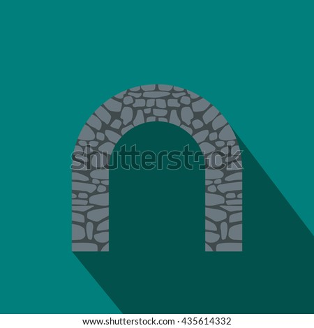 Stone arch icon, flat style - stock photo
