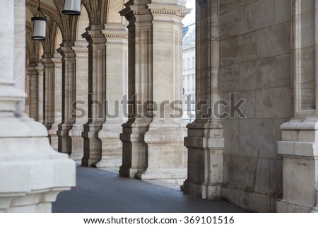 Stone archway of a building in Vienna, Austria - stock photo