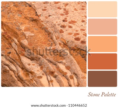 Stone background colour palette with complimentary swatches. - stock photo