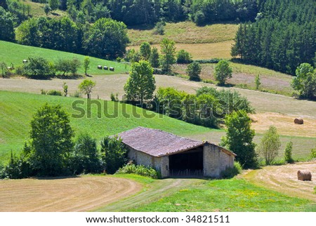 Stone barn in the foothills of the Pyrenees