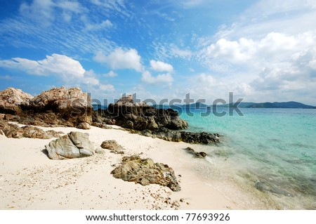 Stone beach Sea sand sun beach for relax in holiday Thailand