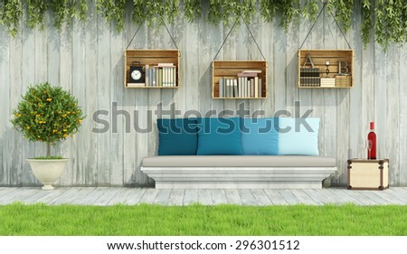 Stone bench with colorful cushion,crate on wooden wall in a vintage garden - 3D Rendering - stock photo