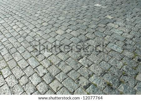 stone block paving - stock photo