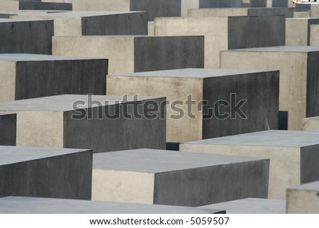 Stone blocks of the holocaust monument in Berlin - stock photo