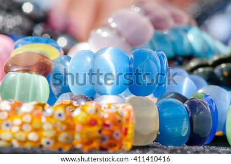 stone bracelets, handmade at the fair, the fair - stock photo