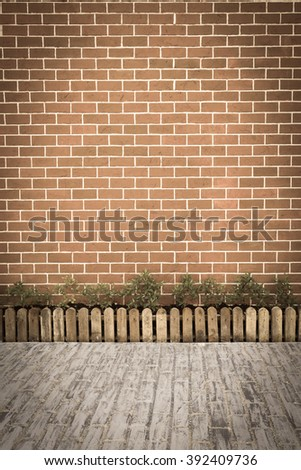 Stone brick floor and brick wall garden
