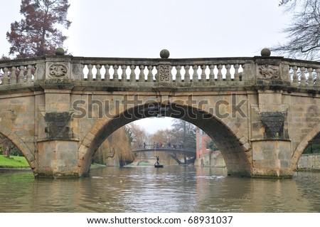 Stone bridge in Cambridge - stock photo