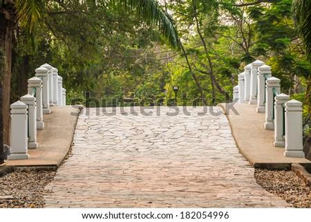 stone bridge in the garden  - stock photo