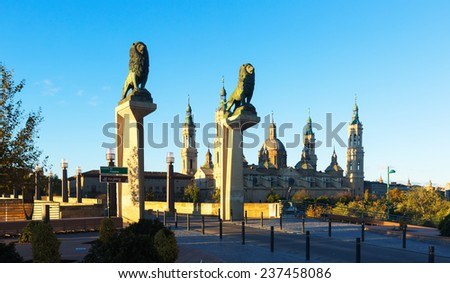 Stone Bridge over Ebro river  also called the Bridge of Lions in Zaragoza. Spain - stock photo