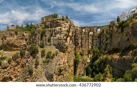 Stone bridge Puente Nuevo in Ronda, Spain - stock photo