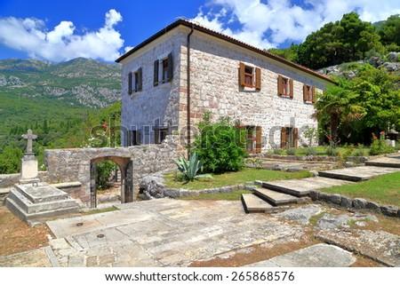 Stone building of an orthodox monastery in Adriatic sea area, Montenegro - stock photo