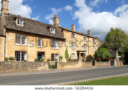Stone-built cottages in the Cotswolds town of Chipping Campden, Gloucestershire, England - stock photo