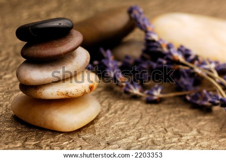 Stone Cairn with Lavender - stock photo