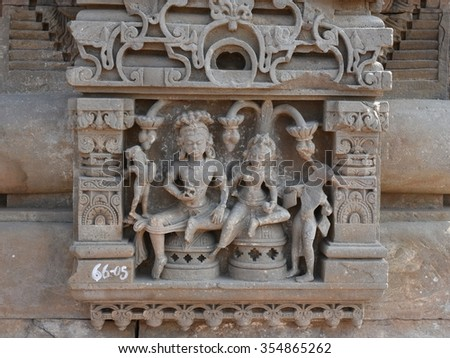 Stone carved ancient sculptures at Historic Temple of Harshat Mata in Abhaneri, Rajasthan, India. The temple is from 8th - 9th Century, it was built by King Chand, it is world famous landmark - stock photo