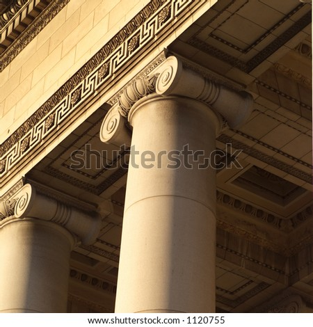Stone carved columns of the capitol building, Havana, Cuba