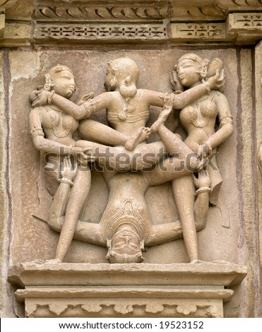 Stone carved erotic sculptures in hindu Khajuraho temple, India