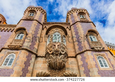 """Stone carving at the Palace of Pena, or """"Castelo da Pena"""" as it is more commonly known, Portugal, Sintra. - stock photo"""